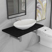 Betterlifegb - Two Piece Bathroom Furniture Set Ceramic Black14631-Serial number