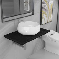 Betterlifegb - Two Piece Bathroom Furniture Set Ceramic Black14633-Serial number