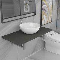 Two Piece Bathroom Furniture Set Ceramic Grey - Grey