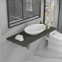 Zqyrlar - Two Piece Bathroom Furniture Set Ceramic Grey - Grey