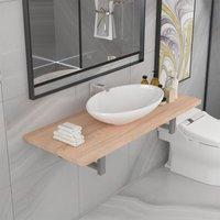 Two Piece Bathroom Furniture Set Ceramic Oak