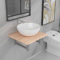 Zqyrlar - Two Piece Bathroom Furniture Set Ceramic Oak - Brown
