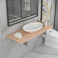 Two Piece Bathroom Furniture Set Ceramic Oak - Brown