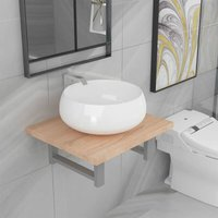 Two Piece Bathroom Furniture Set Ceramic Oak - Brown - Vidaxl