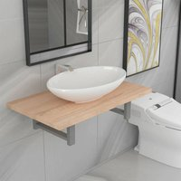 Two Piece Bathroom Furniture Set Ceramic Oak - Brown - Vidaxl