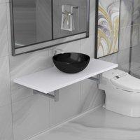 Two Piece Bathroom Furniture Set Ceramic White - White