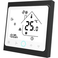 Asupermall - Two Pipe Intelligent Room Thermostat Digital Programmable Temperature Controller for Air Conditioner (BAC-002AL, Black and