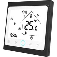 Two Pipe Wifi Voice Intelligent Room Thermostat Digital Programmable Temperature Controller for Air Conditioner (BAC-002ALW, Black and