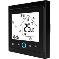 Two Pipe Wifi Voice Intelligent Room Thermostat Digital Programmable Temperature Controller for Air Conditioner (BAC-002ALW, Black),model:Black