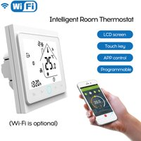 Two Pipe Wifi Voice Intelligent Room Thermostat Digital Programmable Temperature Controller for Air Conditioner (BAC-002ALW, White),model:White