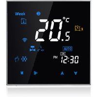 Two Pipe Wifi Voice Intelligent Room Thermostat Digital Programmable Temperature Controller for Air Conditioner (BAC-3000ALW, Black),model:Black