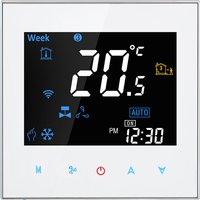 Two Pipe Wifi Voice Intelligent Room Thermostat Digital Programmable Temperature Controller for Air Conditioner (BAC-3000ALW, White),model:White