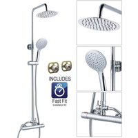 Ultra Thin Round Thermostatic Mixer Shower Dual Control Twin Head + Fast Fit Kit - BuyaParcel