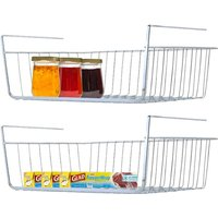 Under Shelf Basket, 2 Pack Stainless Steel Wire Rack for Cabinet Thickness Max 1.2 inch, Space Saving Undershelf Cabinet Storage for Organization