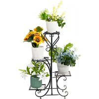 UNHO Étagère à Fleurs en Fer Forgé Porte Plante Echell avec 4 Tablettes Escalier Décoration pour Jardin Balcon Terrasse 50 x 82cm