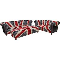 Union Jack Chesterfield 3+2+Footstool Ottoman Velvet Sofa Set - DESIGNER SOFAS 4 U