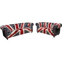 Union Jack Chesterfield 3+2 Velvet Sofa Set