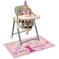 1st Birthday High Chair Kit (One Size) (Pink) - Unique Party