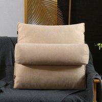 Universal Triangular Wedge Lumbar Pillow Support Cushion Backrest Bolster Soft Headboard 60x22x50cm Beige
