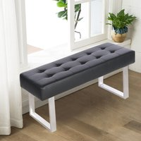 Upholstered Dining Bench Black Button Ottoman Chair Faux