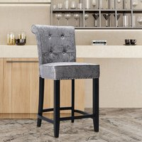 Upholstered Kitchen Breakfast Counter Chairs Bar Stools Barstools Stool Chair Dark Grey