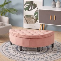 Livingandhome - Upholstered Ottoman Window Seat Buttoned Velvet Storage Bench Bed End Stool Box Pink