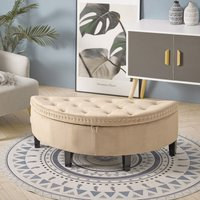 Upholstered Ottoman Window Seat Buttoned Velvet Storage Bench Bed End Stool Box Beige