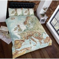 Urban European Map Photographic Print Duvet Cover Bed and 2 Pillowcases Set, Multi-Colour, King Size