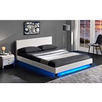 Cherry Tree Furniture URSA White PU Leather Bed Frame with LED on Footend (4FT6 Double) - MERIDEN FURNITURE