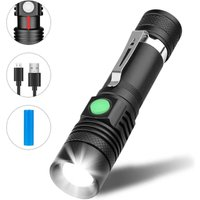Betterlifegb - USB rechargeable LED torch lamp, waterproof flashlight, zoomable flashlight for household, camping, hiking, emergency (battery