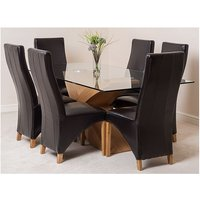 Valencia 200 Dining Table And 8 Brown Lola Leather Chairs