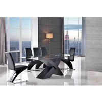 Valencia Black 200 cm Glass and Wood Dining Table with 8 Zed