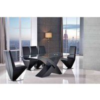 Valencia Dining Table Black Large and 6 Rita Black Chairs - MODERN FURNITURE DIRECT