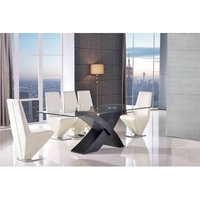 Valencia Dining Table Black Large and 8 Rita Ivory Chairs