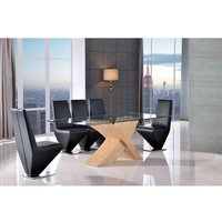 Valencia Dining Table Oak Large and 6 Rita Black Chairs