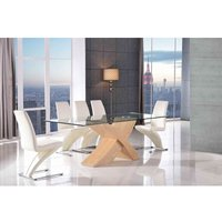 Valencia Dining Table Oak Large and 6 Zed Ivory Chairs