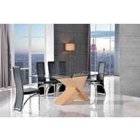 Valencia Dining Table Oak Large and 8 Alisa Black Chairs - MODERN FURNITURE DIRECT