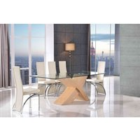 Valencia Dining Table Oak Large and 8 Alisa Ivory Chairs