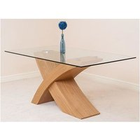 Modern Furniture Direct - Valencia Oak 160cm Wood and Glass Dining Table