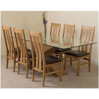 Valencia Oak 200cm Wood and Glass Dining Table with 6 Prince
