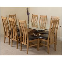 Valencia Oak 200cm Wood and Glass Dining Table with 8 Prince