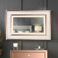 Valentina - Luxurious Wall Rose Gold Mirror with Touch Sensor LED Lights Crushed Diamond Design Perfect For Bedroom Hall - CARME HOME