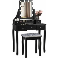 Costway - Vanity Makeup Dressing Table Stool Set Bedroom Makeup Desk W/10 LED Bulbs Gift