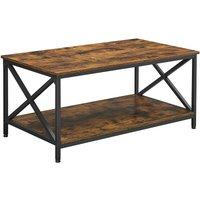 Songmics - VASAGLE Coffee Table, Cocktail Table with X-Shape Steel Frame and Storage Shelf, 100 x 55 x 45 cm, Industrial Farmhouse Style, Rustic