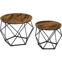 VASAGLE Coffee Tables, Set of 2 Side Tables, Robust Steel Frame, for Living Room, Bedroom, Rustic Brown and Black by SONGMICS LET040B01 - Rustic