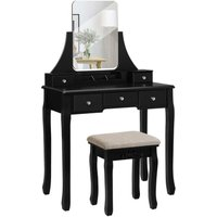 Songmics - VASAGLE Dressing Table Set with Large Frameless Mirror, Makeup Table for Bedroom, Bathroom, 5 Drawers and 1 Removable Storage Box,