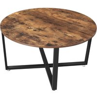 Songmics - VASAGLE Round Coffee Table, Industrial Style Cocktail Table, Durable Metal Frame, Easy to Assemble, for Living Room, Bedroom, Rustic Brown