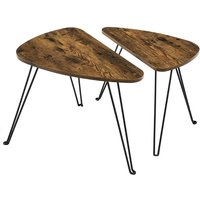 VASAGLE Set of 2 Side Tables, Nesting Tables, End Tables, for Living Room, Dining Room, Bedroom, Industrial Style, Rustic Brown and Black by SONGMICS