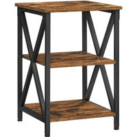 Songmics - VASAGLE Side Table, End Table with X-Shape Steel Frame and 2 Storage Shelves, Night Table, Farmhouse Industrial Style, 40 x 40 x 60 cm,