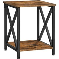 VASAGLE Side Table, End Table with X-Shape Steel Frame and Storage Shelf, Nightstand, Farmhouse Industrial Style, 40 x 40 x 50 cm, Rustic Brown and